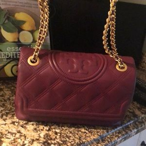 Tory Burch claret soft Fleming Convertible Bag